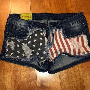 Pants - American flag jean shorts